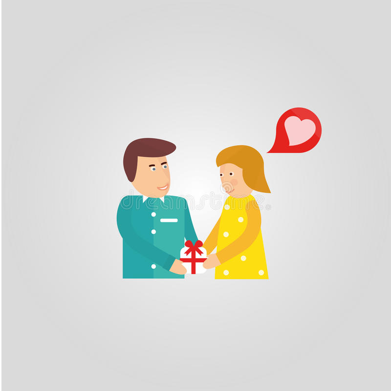 gift on Valentine's Day stock illustration