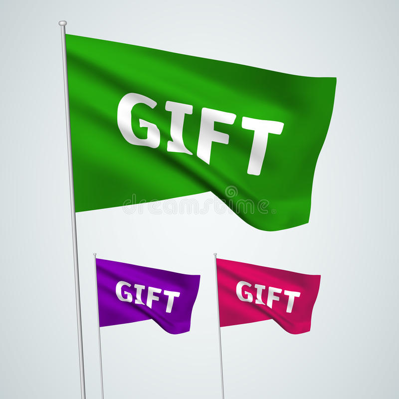 Gift - vector flags. A set of wavy 3D flags created using gradient meshes. EPS 8 vector vector illustration