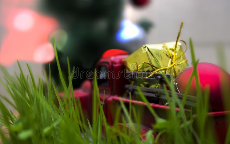 Gift vehicle for christmas stock photo
