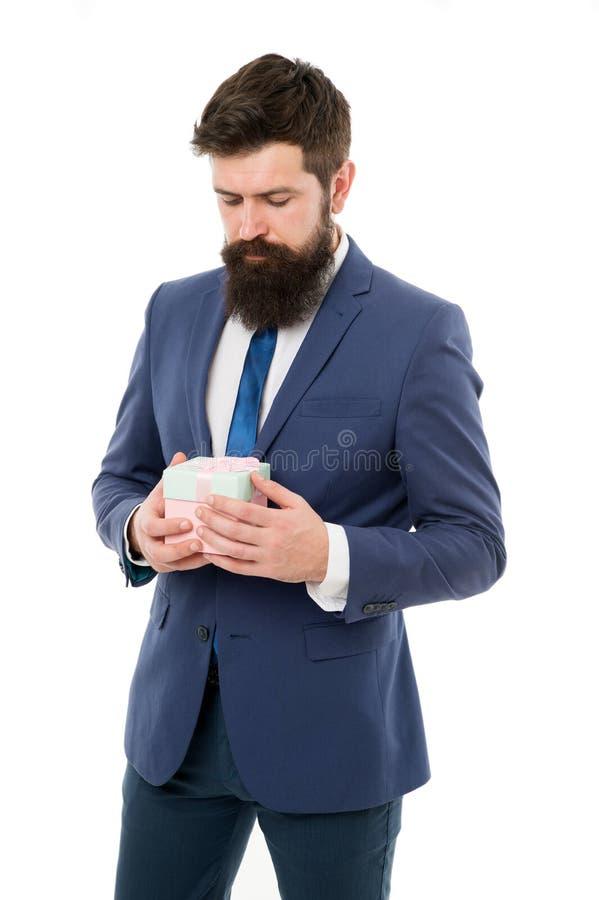 Gift voor cli?nt Klantgerichte zaken Van de de greepgift van de mensenformele kleding de doos witte achtergrond Dankbaar concept  royalty-vrije stock afbeeldingen