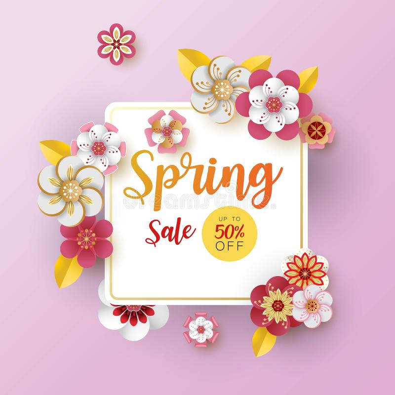 Spring banner sale. With leaf and colorful flowers design. Paper cut art style on purple background.For a festive season Vector il royalty free illustration