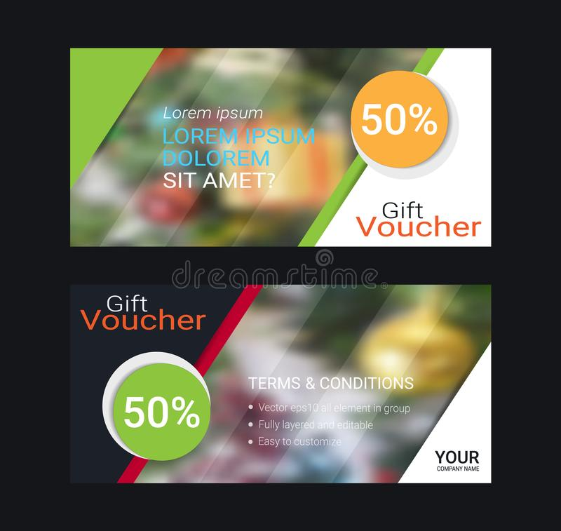 Gift voucher card or banner web template with blurred background. stock illustration