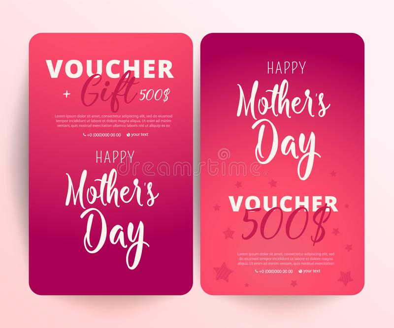 Download Gift Voucher Card Set Template. Gift Certificate, Coupon Template.  Stock Vector