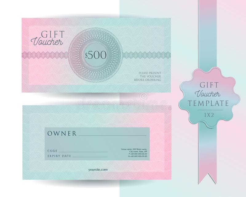 Gift voucher card template. Modern discount 500 certificate layout with guilloche watermarks pattern. Fashion bright pink mint. Background design with sample stock photo