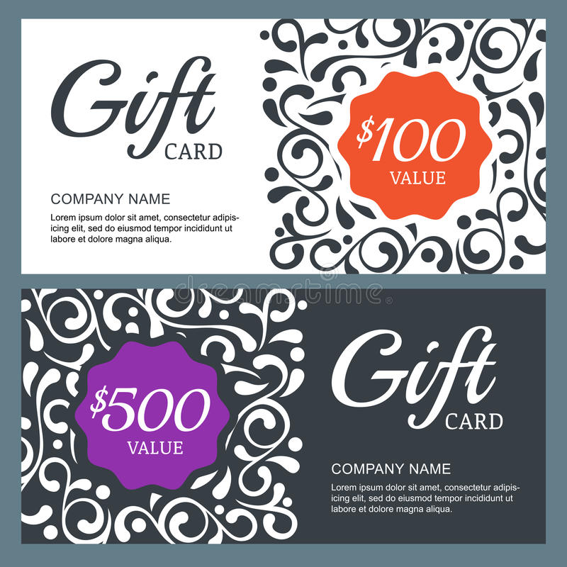 Gift Voucher Card, Vector Template With Floral Background. Stock ...