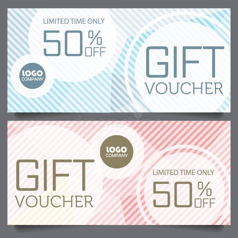 Gift voucher certificate coupon template stock illustration