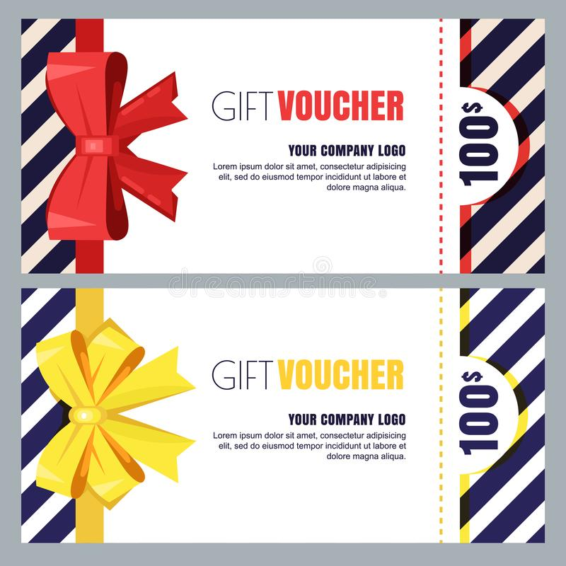 Gift voucher, certificate or coupon vector design layout. Discount banner or holidays greeting card template. vector illustration