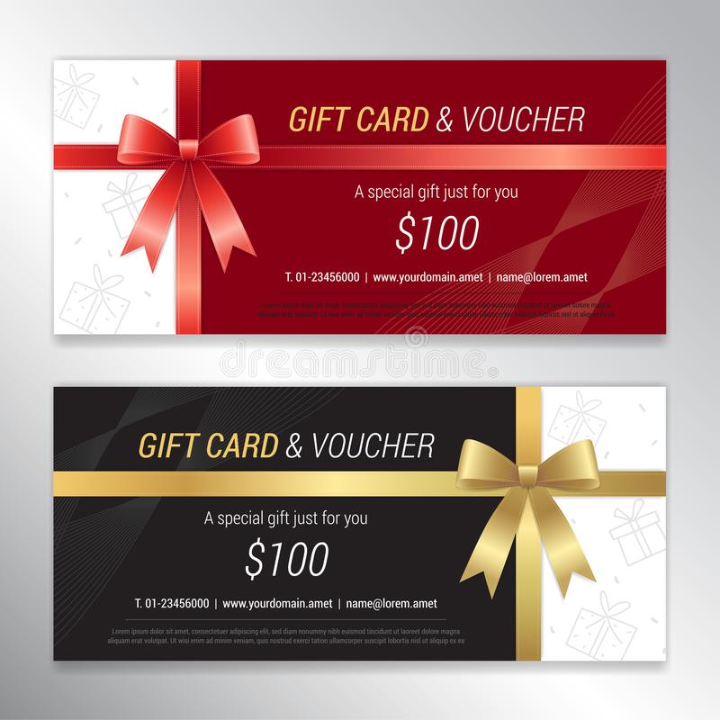 Gift voucher, certificate or discount card template for promo co. Mpliment royalty free illustration