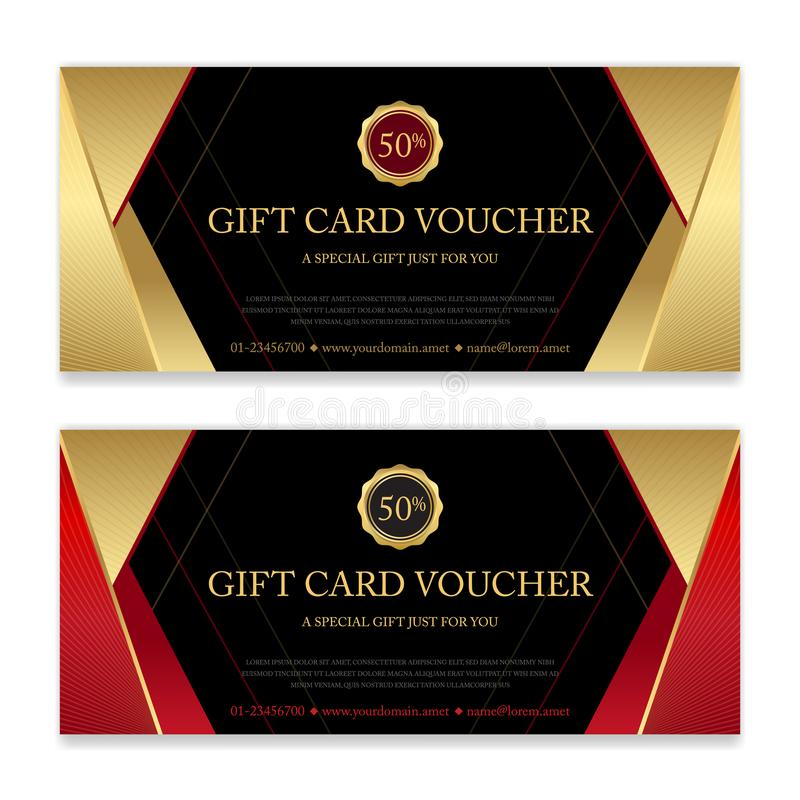 Gift voucher, certificate or discount card template for promo co. Mpliment vector illustration