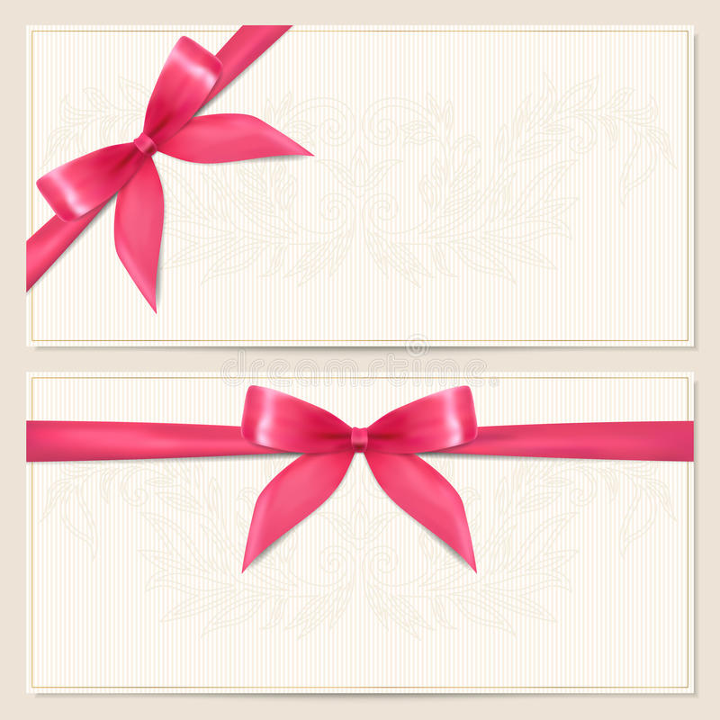 Gift Voucher / coupon template with bow (ribbons) royalty free illustration