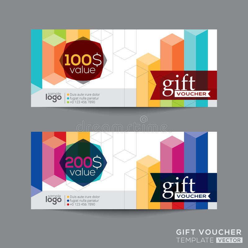 Gift voucher coupon template with colorful isometric shape vector illustration