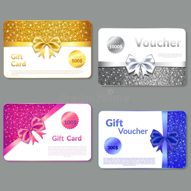 Gift Voucher Design with Glitter Texture and Bow. . vector illustration