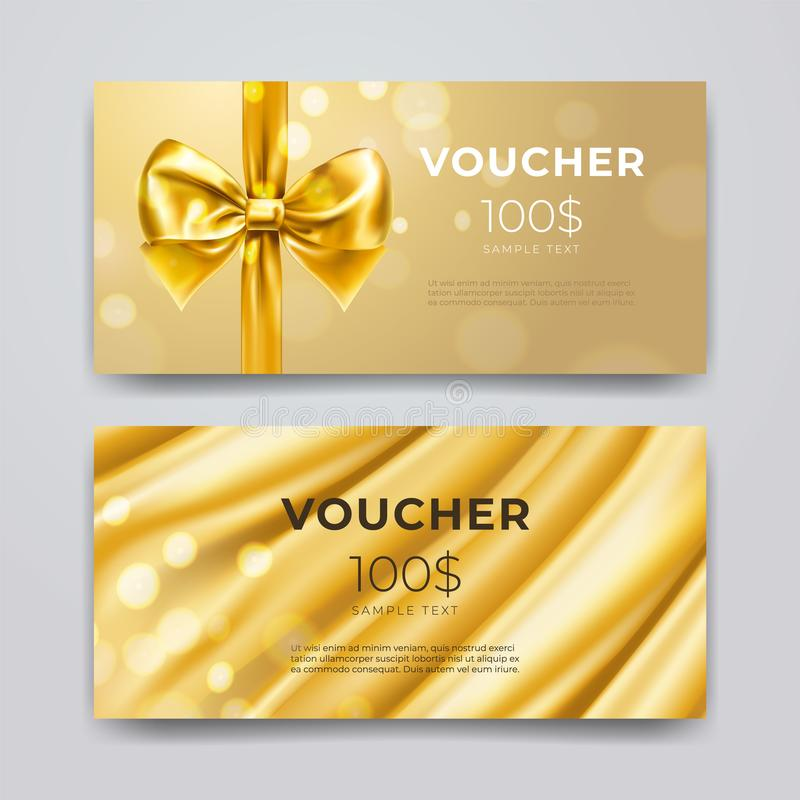Gift voucher design template. Set of premium promotional card with realistic golden bow, ribbon and silk isolated on stock illustration