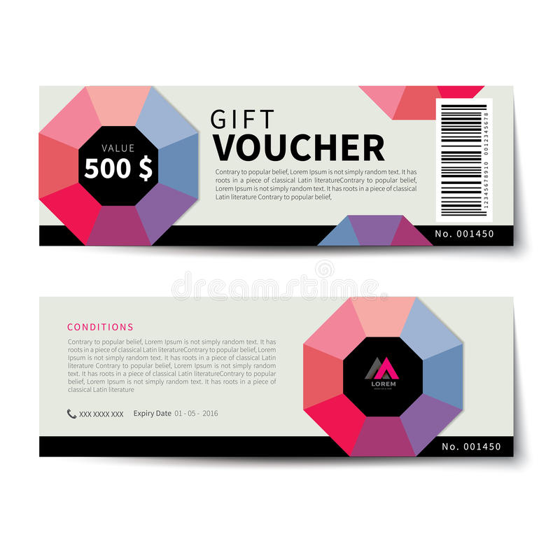 Gift voucher discount template flat design royalty free illustration