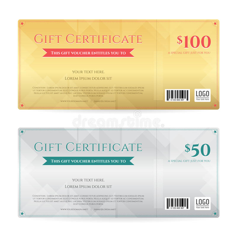 Gift Voucher Or Gift Certificate Template In Luxury Gold And Sil