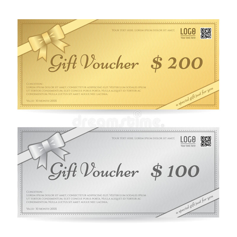 Gift Voucher Or Gift Certificate Template With Ribbon Stock Vector