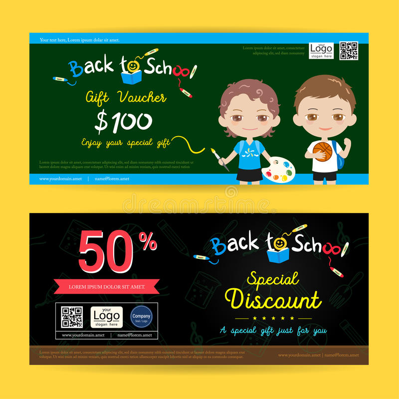Gift voucher or gift coupon for back to school season in colorful theme stock illustration