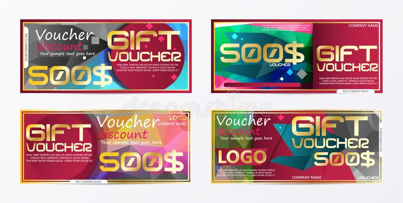 Gift voucher gold template colors certificate. Background design coupon, invitation, currency. Vector illustration. E stock illustration