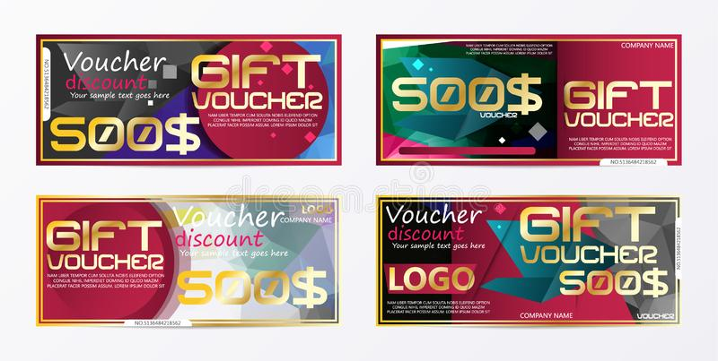 Gift voucher gold template colors certificate. Background design coupon, invitation, currency. Vector illustration. Eps.10 stock illustration