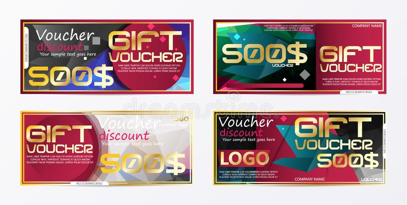 Gift voucher gold template colors certificate. Background design. Coupon, invitation, currency. Vector illustration stock illustration