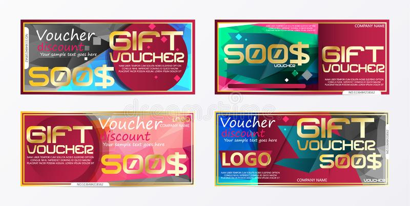 Gift voucher gold template colors certificate. Background design. Coupon, invitation, currency. Vector illustration royalty free illustration