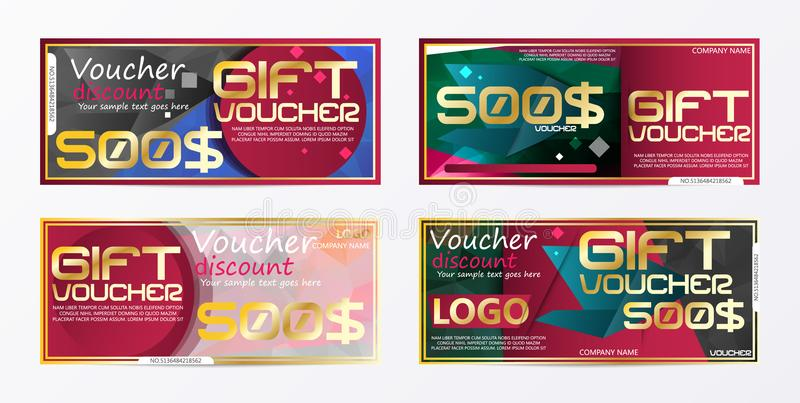 Gift voucher gold template colors certificate. Background design. Coupon, invitation, currency. Vector illustration vector illustration