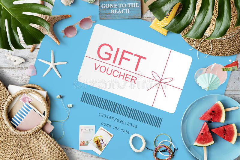Gift Voucher Promo Code Concept. Gift Voucher Promo Code Coupon royalty free stock image