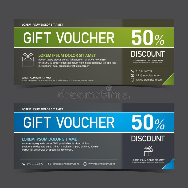 Gift Voucher Template blue black and green black stock photo