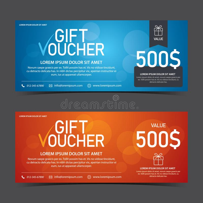 Gift Voucher Template blue and orange color royalty free stock photo