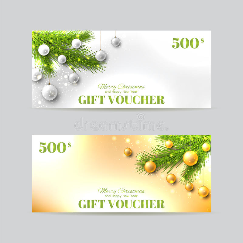 Gift Voucher Template With Christmas FirTree Stock Vector