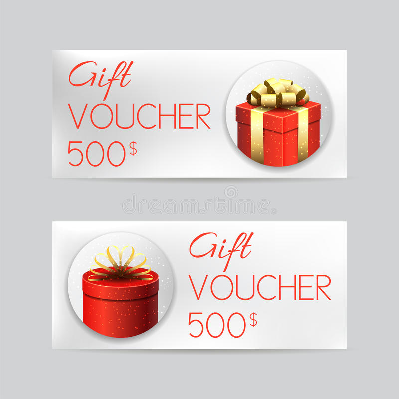 Gift Voucher Template With Christmas Gifts Stock Vector