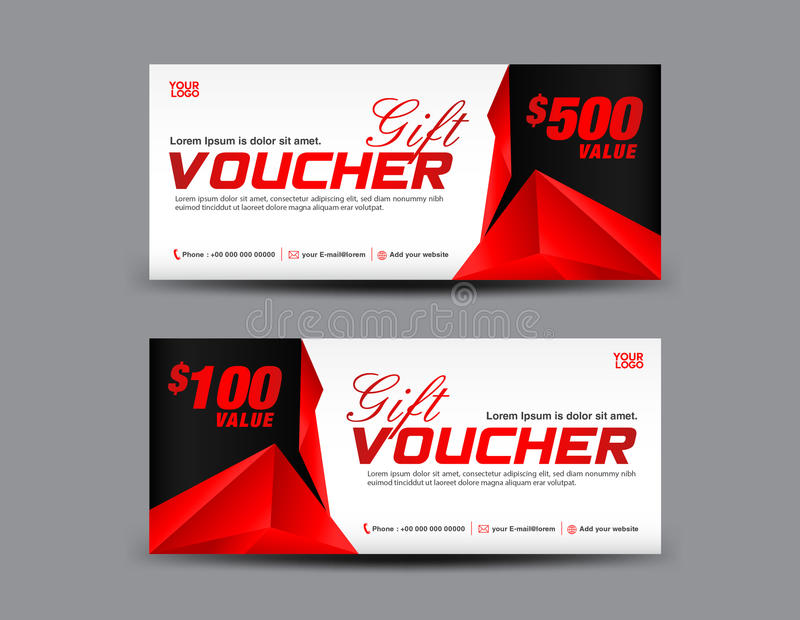 Gift Voucher Template Coupon Design Red Gift Certificate Stock