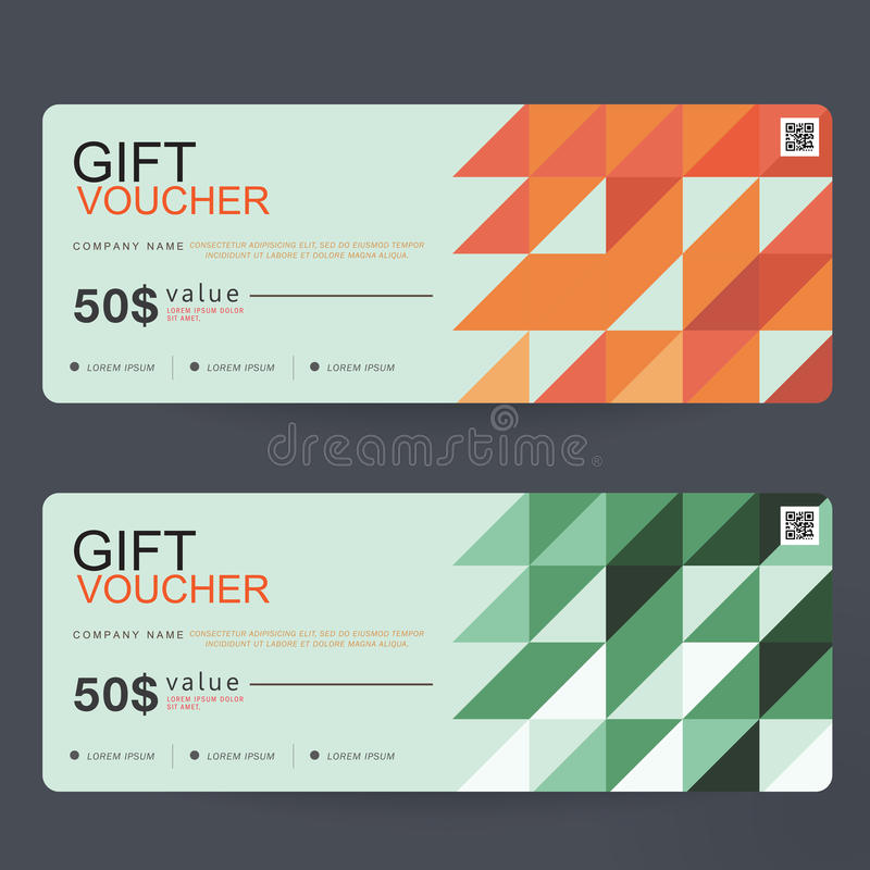 Gift Voucher Template Design concept for gift coupon stock illustration