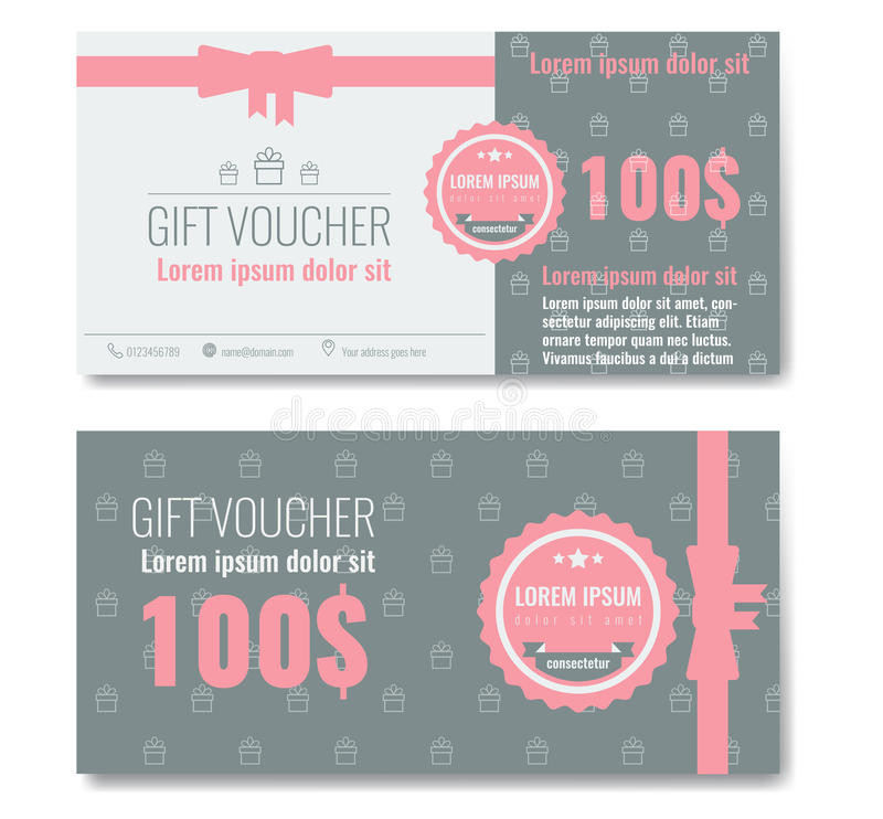 Gift voucher template design with trendy, modern outline pattern royalty free illustration