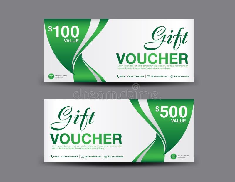 Gift Voucher template layout, business flyer design, jungle leaf background, green coupon vector illustration