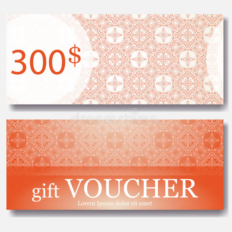 Gift voucher template with mandala. Design certificate for sport center, magazine or etc. Vector gift coupon with ornament on back stock illustration