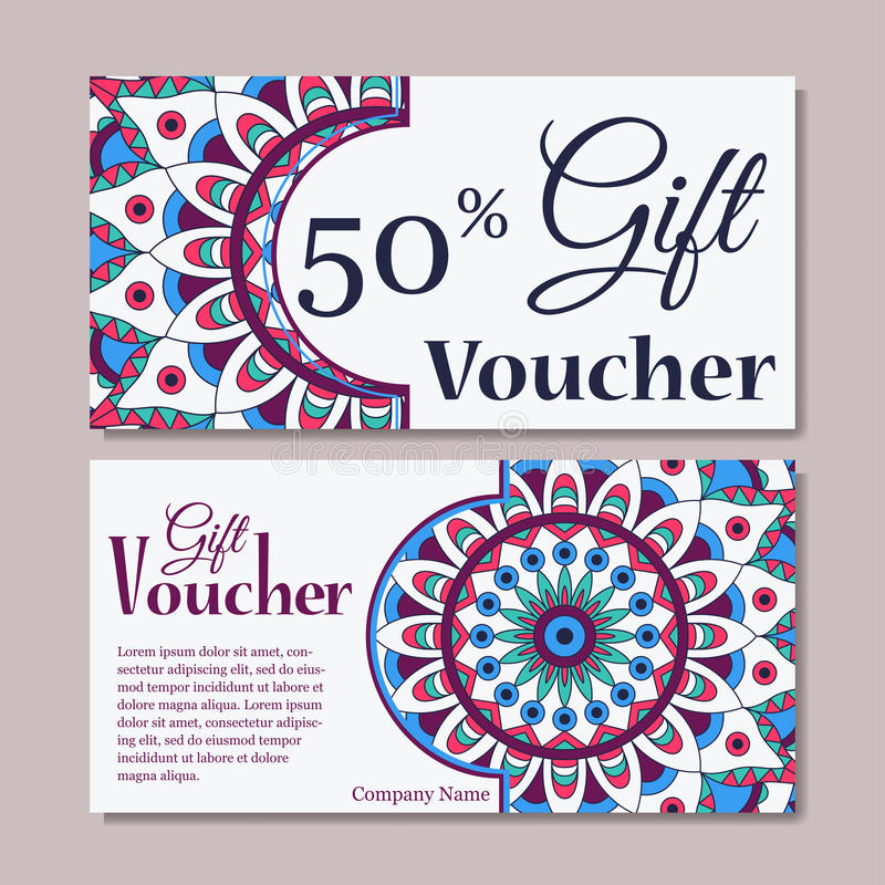 Gift Voucher Template With Mandala. Design Certificate For Sport Or