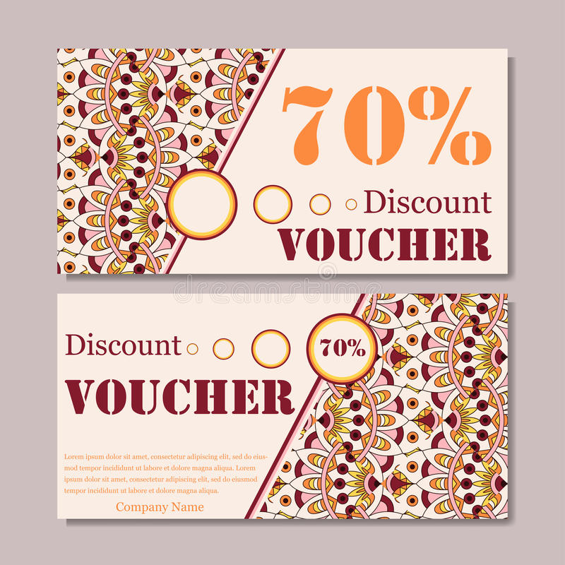 Gift Voucher Template With Mandala Design Certificate For Sport Or