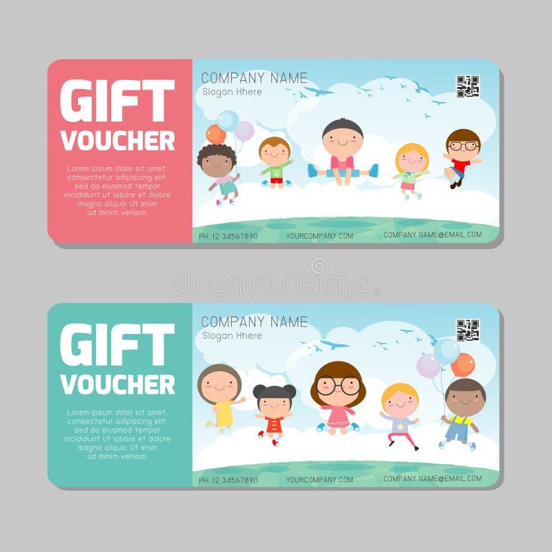 Gift voucher template and modern pattern. kids concept. Voucher template with premium pattern, gift Voucher template with colorful. Pattern. bright concept vector illustration