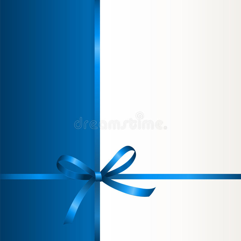 Gift Voucher Template with place for text. Vector Invitation card with blue holiday ribbon and bow. Gift Voucher Template with place for text vector illustration
