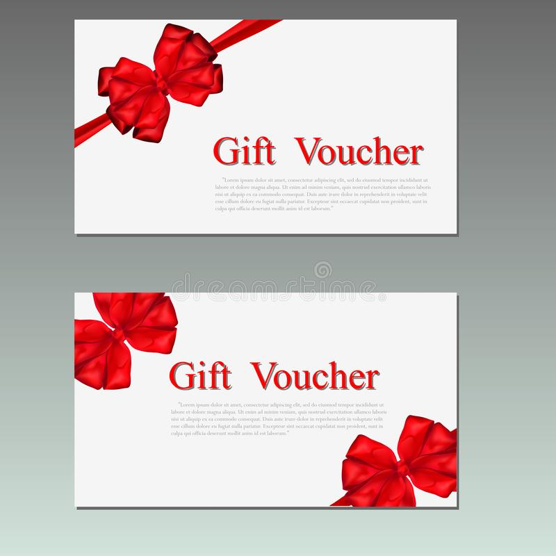 Gift Voucher template with red bow ribbon. stock photography