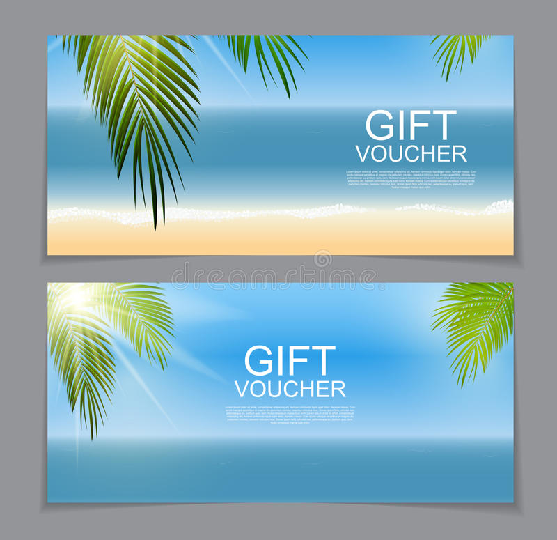 Gift Voucher Template for Summer Natural Background. Discount Co. Upon. Vector Illustration EPS10 royalty free illustration