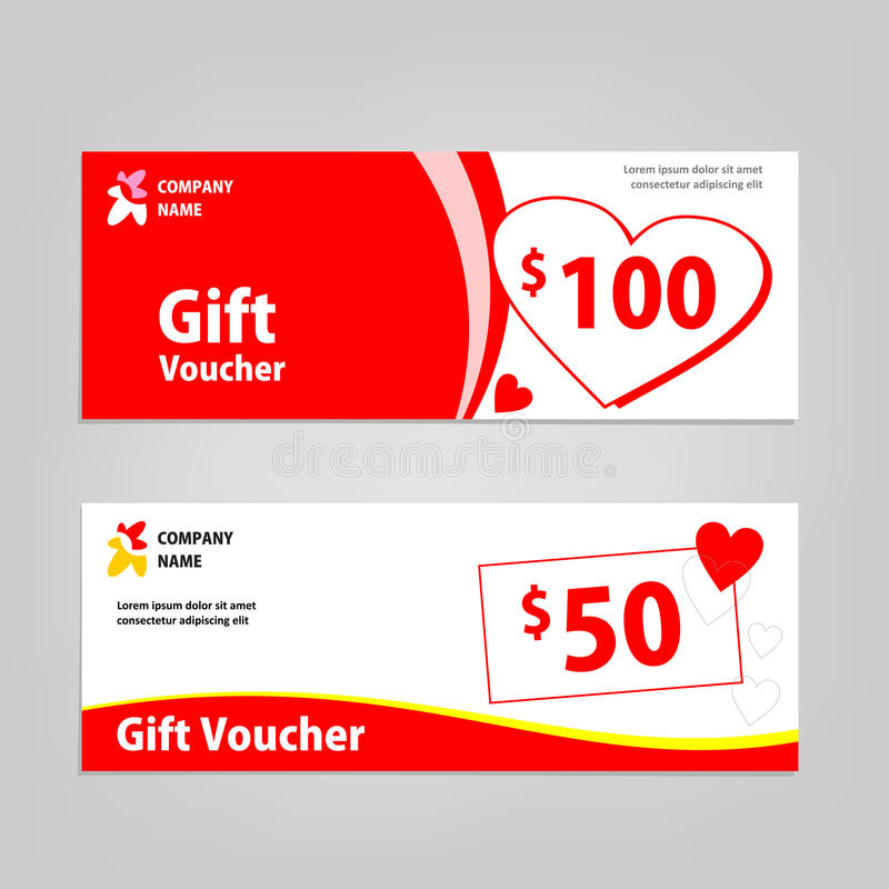 Download Gift Voucher Template For Valentine Promo Stock Illustration - Image: 83722926