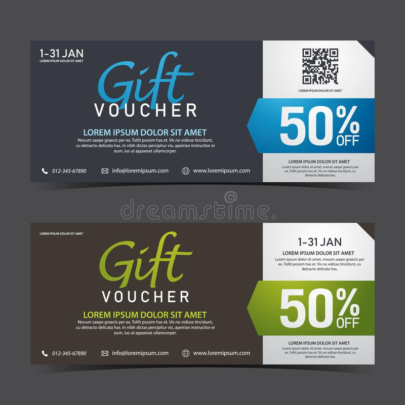 Gift Voucher Template blue black and green black with QRcode stock photos