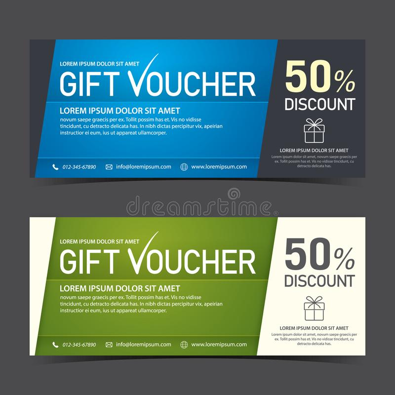 Gift Voucher Template blue black and green white stock photography