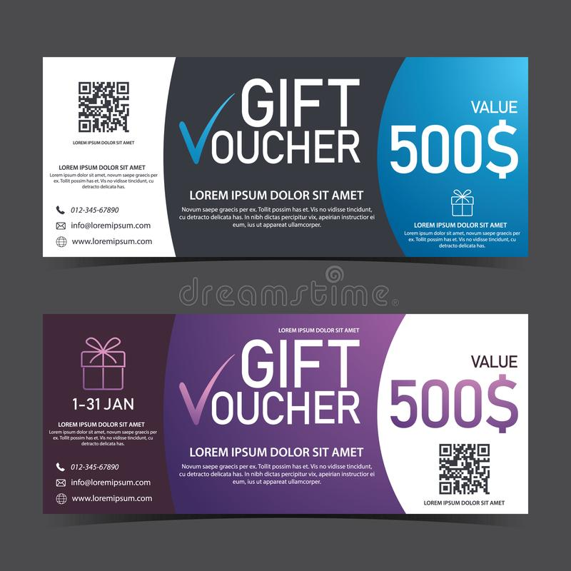 Gift Voucher Template blue black and purple white with QRcode royalty free stock images