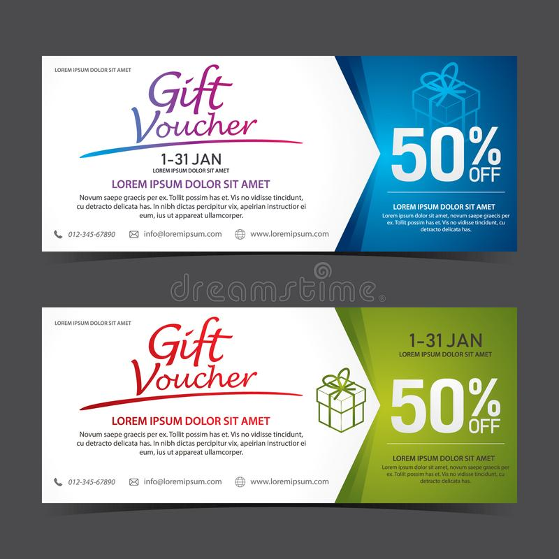 Gift Voucher Template blue white and green white royalty free stock images