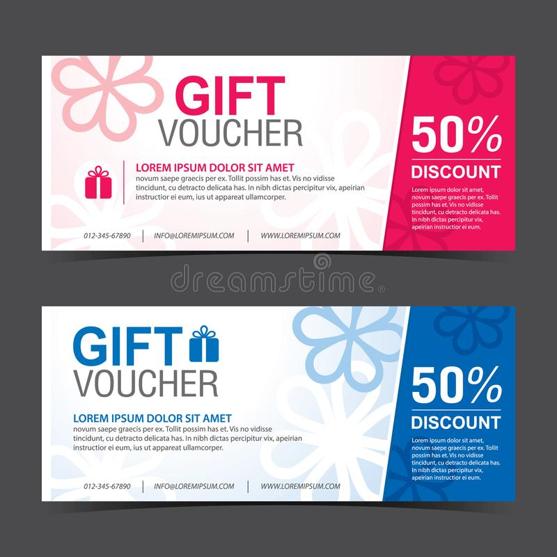 Gift Voucher Template blue white and pink white stock images