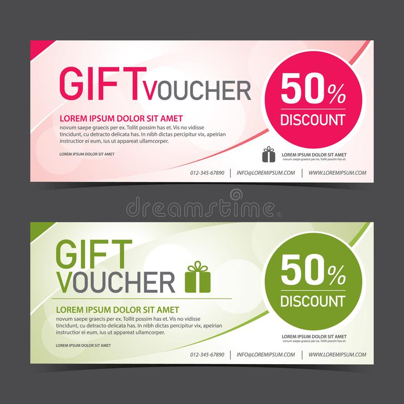 Gift Voucher Template pink and green color royalty free stock photography