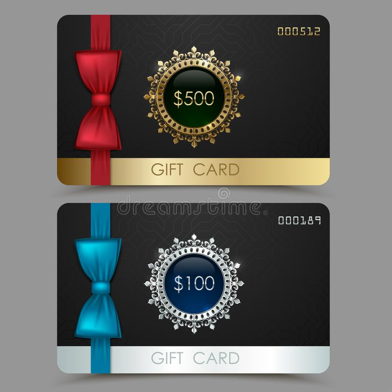 Gift card voucher with red and blue bow ribbon. Black vector plastic card, golden silver line design template. Set of discount stock illustration